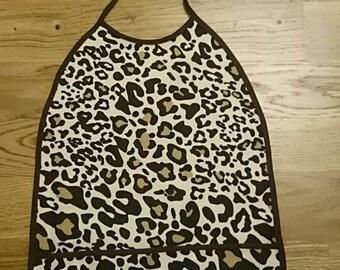 Leopard bib, baby leopard bib, girl bib, waterproof bib, bib with pocket, pocket bib, baby shower gift, leopard baby