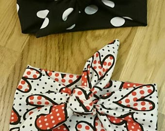 Headband with bow, baby headwrap with bow, heart headband, polka dot headband,  baby turban with bow