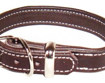 Dark Brown leather dog collar with Cream stitching