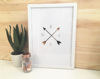 Rose Gold Foiled Compass Print With Frame Included