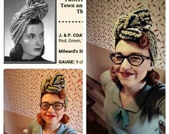 40s crochet turban