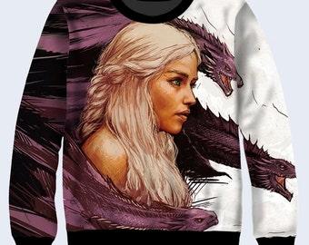 Game of Thrones Sweatshirt, Dragon Sweatshirt for Women, Sweater Womens, Drawn Daenerys Pullover, Daenerys Targaryen