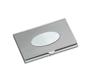 Business card holder metal shiny chrome with free diamond engraving