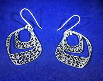 Handmade Filigree Earrings Sterling Silver High Quality made in Macedonia