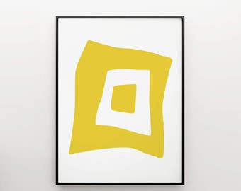 abstract art yellow shape - art print - home decor -