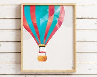 Hot Air Balloon Wall Art, Hot Air Balloon Print, Hot Air Balloon Printable, Nursery Art, Nursery Decor, Transportation Printable Art