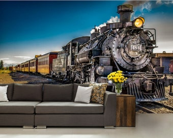 train wallpaper, train wall mural, train wall decal, locomotive wallpaper, old locomotive wall mural, peel and stick, train locomotive,