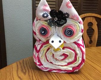 Owl Diaper Cake, Baby Shower Gift