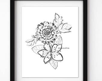 Pen and ink drawing, Ink flowers,  floral print, Original Floral sketch, Black and white drawing, Modern art, nursery, Boho home decor