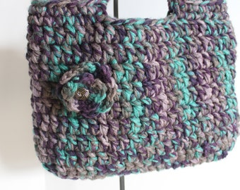 Crocheted Tote - Handbag - Market bag (Turquoise, Gray and Purple)