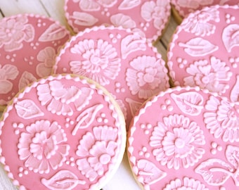 Painted Embroidery Flower Cookies - One Dozen