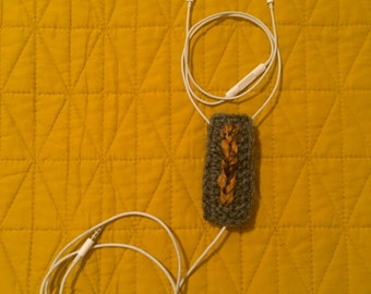 Crocheted Earbud/Headphone Accessory - Rectangle