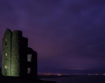 Night photography, Architechture print, purple decor, mauve wall art, abandoned building art, light print, 'Mauve Mine', Cornwall print