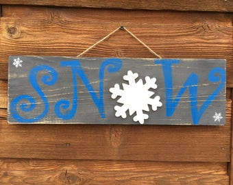 Hand-painted wooden SNOW sign – Christmas