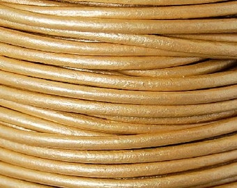 Leather Cord 2mm round Gold