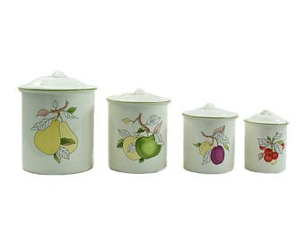 Vintage Ceramic Canister Set, Mid Century Canisters, Kitchen Storage, Baking Storage, Retro Kitchen, Mid Century Kitchen, Farmhouse