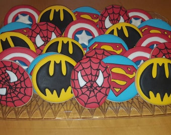 Superhero Cookies - Superman Cookies - Batman cookies - Captain America cookies - Spiderman cookies - birthday cookies - party favots