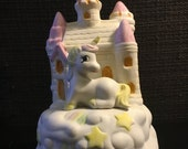 "5 DAY SALE (Ending Soon) Unicorn Music Box Ceramic Rotating Somewhere Over The Rainbow 7.75"" Tall"