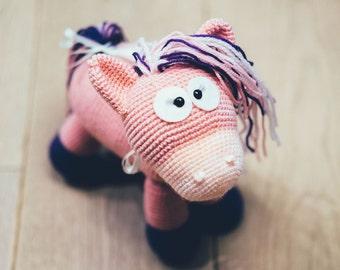 The Pink Pony, Horse, Crochet Pony, Stuffed Pony, Plush Pony, Gift for Girl