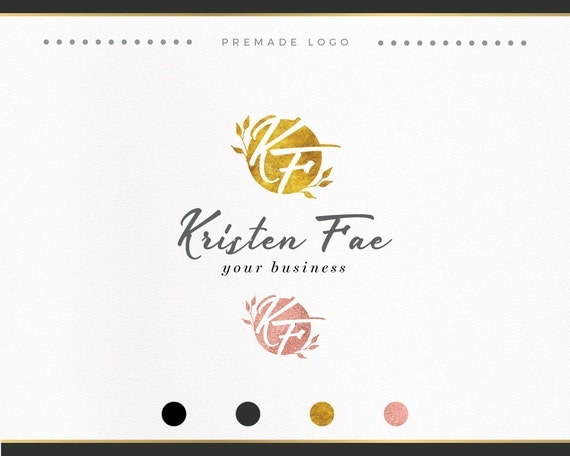 Rose Gold Foil Logo with flowers, Wedding Photography, Elegant Logo, Floral Logo,  Custom/Premade Logo, Business Logo, Monogram logo, Script
