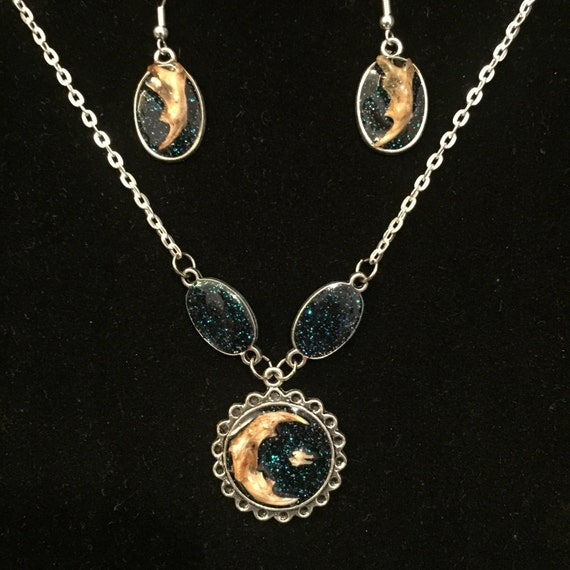 Moon and Star & Jaw Bone Earrings - Crystal Black