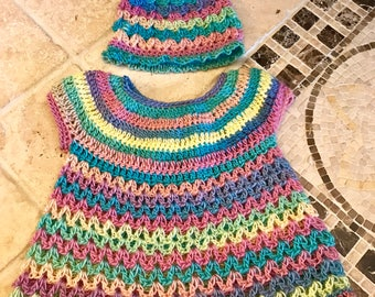 Fruity Pebbles - Gorgeous baby girl dress and matching beanie