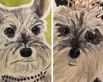 Your Two Dogs in Two Separate Paintings +  = original paintings + making-of videos & archival print enlargements! Custom, commission, gift