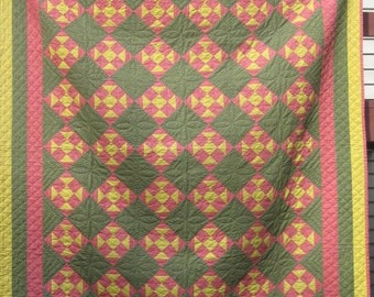 Queen Size 'Churn Dash' Antique Quilt, 1880's, Handmade, Handquilted Green, Yellow, Pink Vintage Blanket,Early Textile  Bedding, #16962