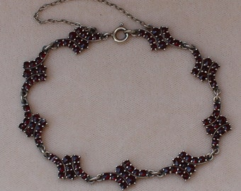 Vintage Bohemian Garnet Chain Link Bracelet 900 Silver Antique