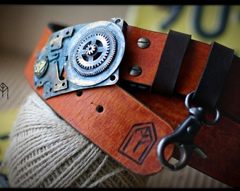 """Steampunk Leather Belt The """"Time Warp"""" Series No.34"""