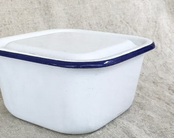 1950s Vintage Square Blue and White Enamelware lidded box