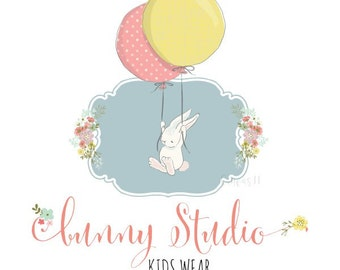 Premade Logo Bunny Kids Rabbit Animals Party Balloons Clothing Accessories Handmade Branding Business Logo Shop Banner Business Card PL062
