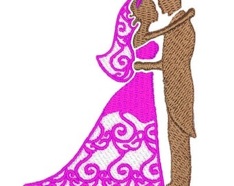Bride and Groom Wedding Couple Machine Embroidery Design Instant Download