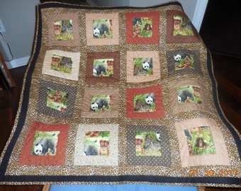 Baby jungle animal baby quilt, baby quilt, nursery bedding, handmade baby quilt