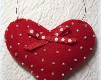 Red Felt Beaded Heart, Mothers Day Gift, Love Gift, Heart Decor