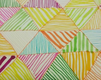 fun striped triangular multicoloured pattern felt tip multidirectional