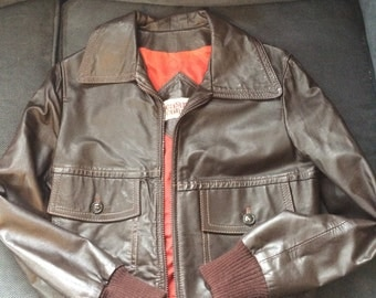 Vintage brown leather jacket small