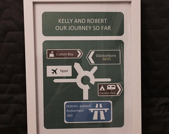Personalised 'Our Journey So Far' Print with Frame