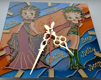 Wall clock Betty Boop.Stained glass.Wall clock kids.Hand painted. Unique wall clock.Gift for mom.Wall clock glass.Betty Boop wall decor.
