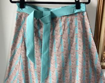 Turquoise & Peach Knit Print Wrap Skirt