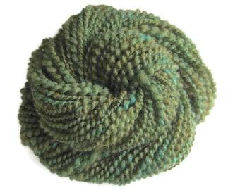 Wool Hand Spun Yarn, Green, Spiral Plied, Bulky, 2oz