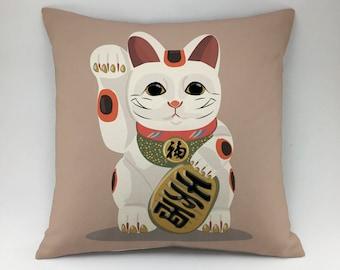 Maneki-neko pillow case Decorative pillow kitty pillow Japanese lucky cat pillow case kawaii cat pillow beckoning cat pillow throw pillow