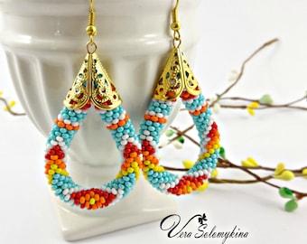 Turquoise beaded earrings, Native American  inspired earrings, Seed bead earrings, Ethnic earrings, Crochet Rope, Native beadwork jewelry