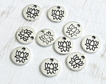 Tiny Lotus charms, silver lotus, coin Lotus charm, lotus pendant, lotus flower, flower charm, us seller, tiny lotus, set of 10, yoga charm
