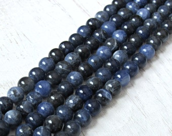 6mm Sodalite beads, gemstone beads, blue stone, 6mm beads, full strand, AA quality, blue beads, blue sodalite, sodalite gemstone