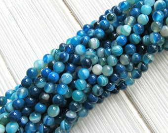 6mm banded agate, blue banded agate, line agate, agate beads, full strand, banded agate, bracelet beads, jewelry supplies, US seller