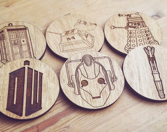 Doctor Who Wooden Coasters