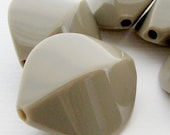 5 Large Vintage 29 mm Acrylic Taupe Unique Oval Beads, Taupe Beige Beads, Neutral Beads, Bold Beads, Pointed Oval Beads, Bead Destash