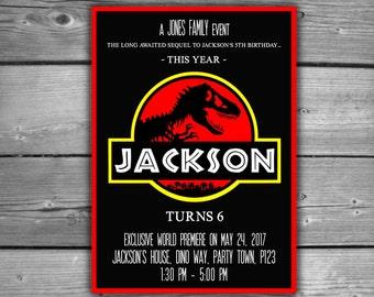 Jurassic Park Movie Poster Invitation - PRINTABLE - Digital File - Kids Birthday Jurassic World Dinosaur Film Party Invite - V011