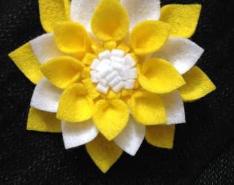 Felt flower brooch/hair barrette-Yellow and white felt flower brooch